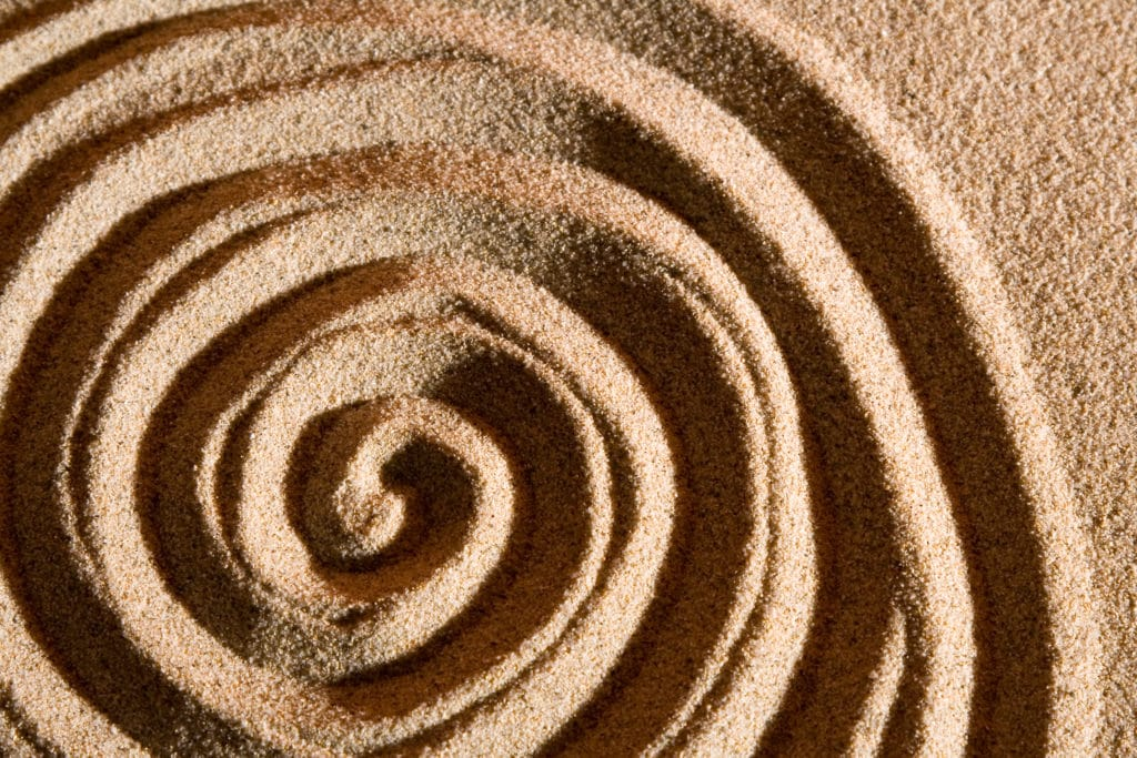 The shape of a spiral in the sand